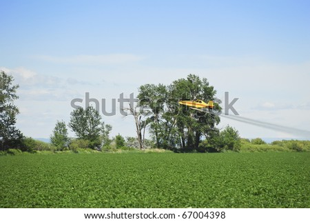 A crop duster applies chemicals to a field - stock photo