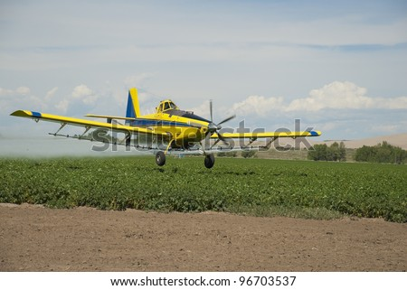 A crop duster sprays a field of Idaho potatoes. - stock photo