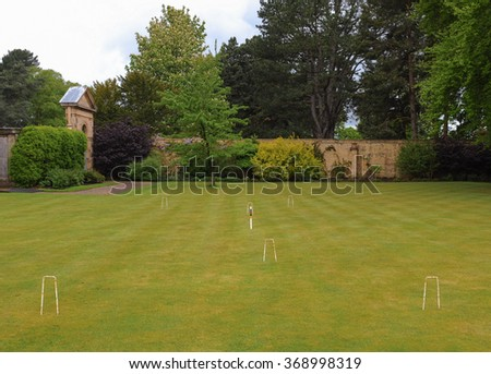 A Croquet Lawn in the Grounds at Tatton park in Cheshire, England, UK - stock photo