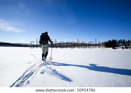 A cross country skiier skiing off trail back country; - stock photo