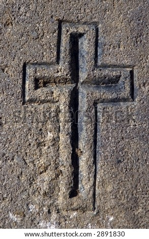 A cross graven in stone