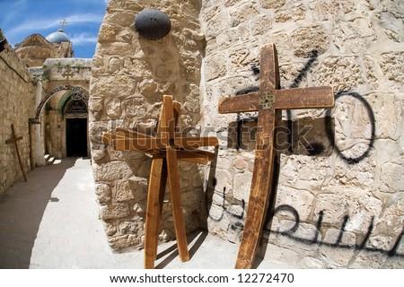 A cross in Jerusalem. - stock photo