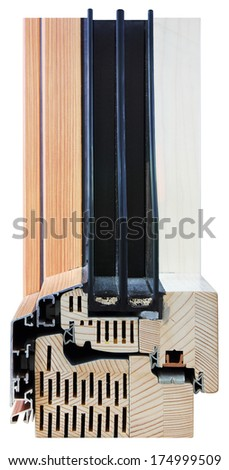 A cross section of window performance triple glazing cut to show the inner profile and quality construction - stock photo