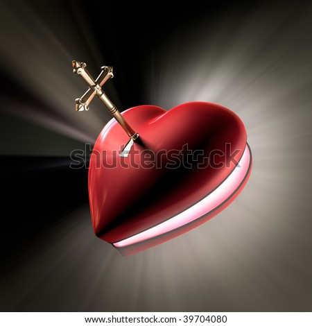 A cross shaped key unlocking a heart shaped box opening with volume light shooting out.