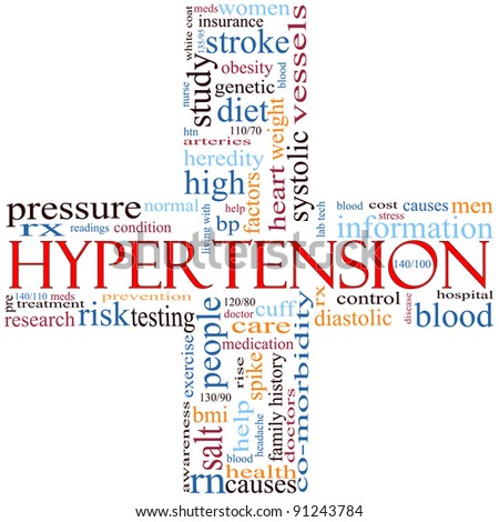 A cross shaped word cloud concept around the word Hypertension and other words including high, blood, pressure, doctor, readings, and more. - stock photo