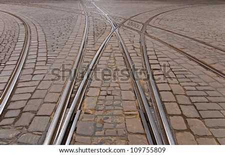 A crossroads in the center of the old Helsinki. - stock photo