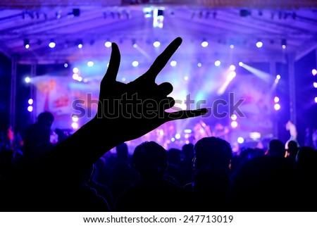 a crowd of people at during a concert with a Love Signs hand shadow