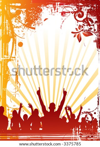 A crowd of people cheering at a concert. - stock photo