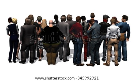 a crowd of people rear view on white background