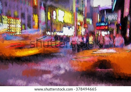A crowded New York City street intersection at twilight transformed into a colorful abstract painting