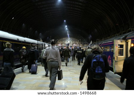 A crowded trainstation. - stock photo