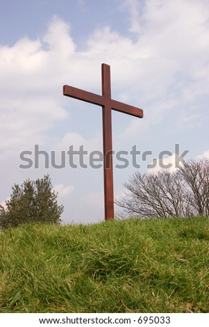 A crucifix erected for the easter weekend - stock photo