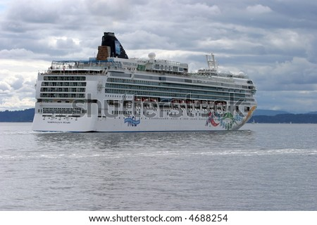 a  cruise ship in seattles puget sound - stock photo