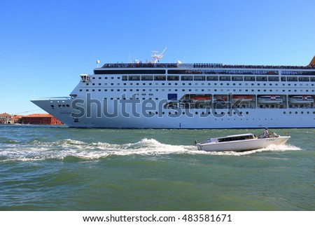 A cruise ship Neo Costa Riviera on Grand Canal Venice Italy, August 23, 2016
