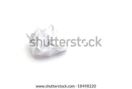 A crumpled piece of paper isolated on white background. Maybe a bad idea... - stock photo