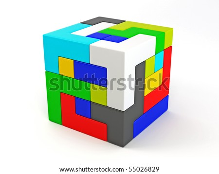 A cube built from blocks. Puzzle. 3d - stock photo