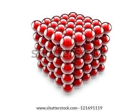 A cube made of one undred and twenty five red spheres