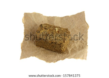 A cube of Traditional Chinese herbal tea soup (Medicinal herbal tea) containing many parts of plants, to treat indigestion  - stock photo