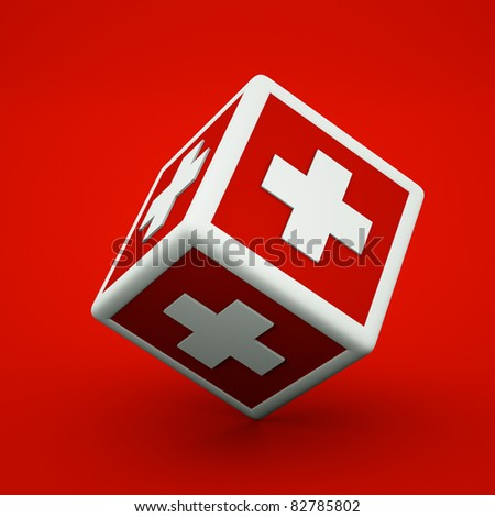 a cube with cross inside - stock photo