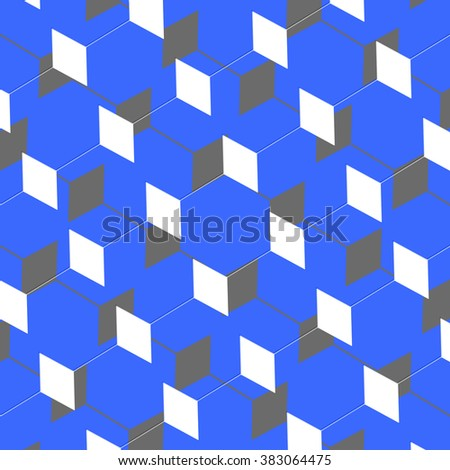 A cubist abstract art box pattern illusion in blue and grey - stock photo