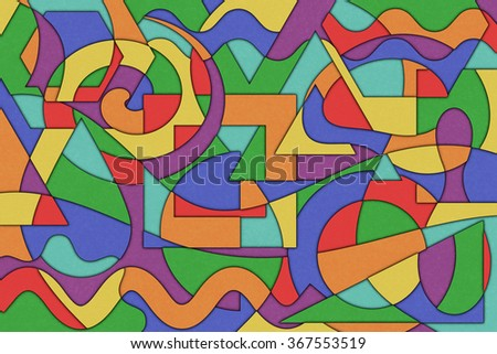 A Cubist Abstract Background with Swirling Lines and Shapes - stock photo