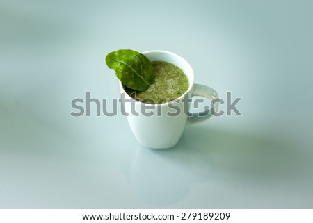 A cup of a green smoothie, healthy drink and food that fits for a diet - stock photo
