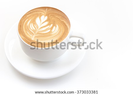 A cup of cafe latte on white background isolated - stock photo