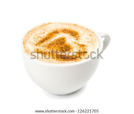A Cup of Cappuccino with Froth, Cinnamon  isolated on a White background