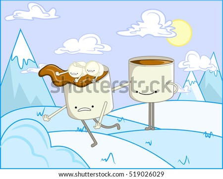 A cup of cocoa with marshmallows in the snow falls. Joke of the second cup of cocoa. Winter in the mountains