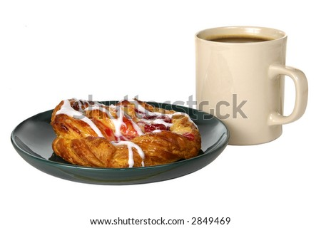 a cup of coffee and a danish roll on a plate on a white background - stock photo