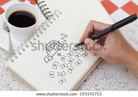A Cup of Coffee and My Car Concept Idea Sketch with Hand drawing - stock photo