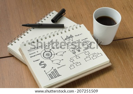 A Cup of Coffee and Strategy Idea Concept Sketch with Pen - stock photo