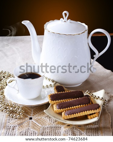 a cup of coffee and sweets