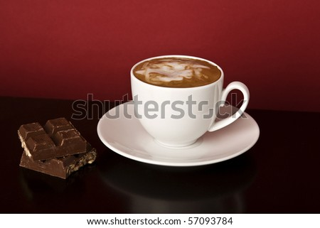A cup of coffee . Copy space. Selective focus in the center of the drink - stock photo