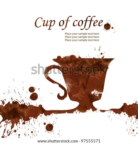 A cup of coffee hand drawn from watercolor brown stains, isolated on white background - stock photo