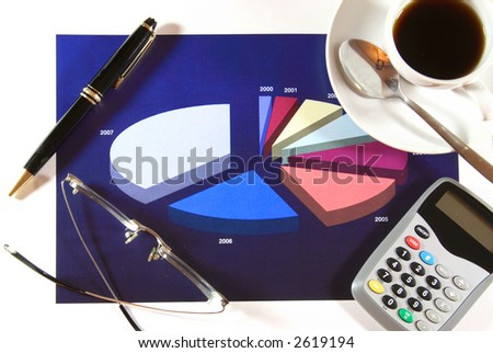 A cup of coffee resting on a colorful generic pie chart. Concept: Financial statement.