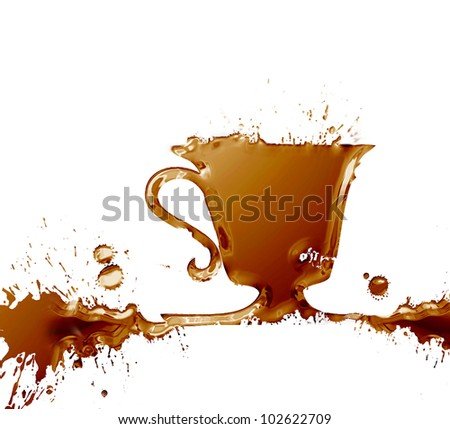 A cup of coffee splash , made from watercolor brown stains, isolated on white background - stock photo