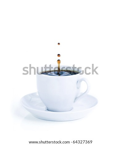 A cup of coffee with a splash of drops in the morning blue mood tones. Isolated on white background. - stock photo