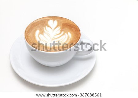 A cup of coffee with latte art white background - stock photo
