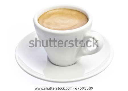 A cup of espresso coffee with foam isolated over white