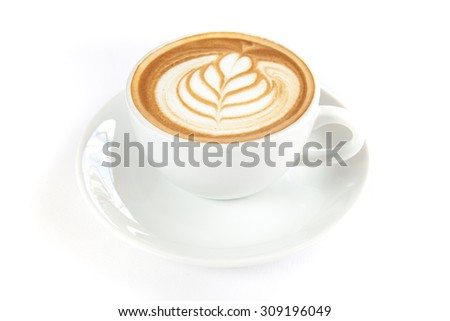 A cup of hot cafe latte on white background - stock photo