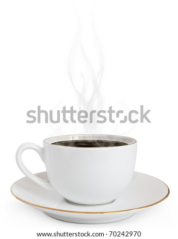 A cup of hot coffee and a smoke - stock photo