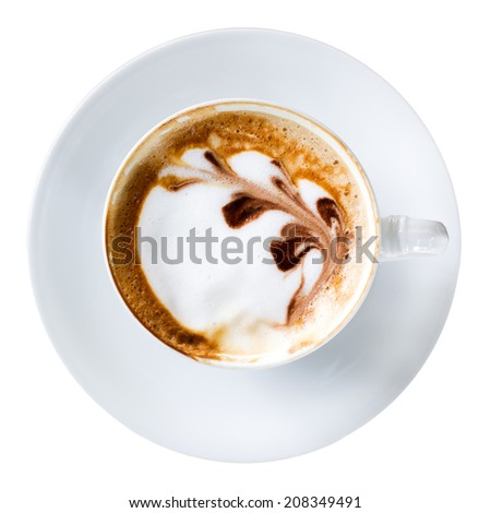 A cup of latte coffee isolated. - stock photo