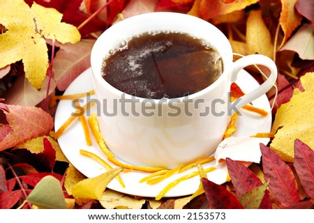 A cup of Orange Pekoe Tea on a saucer surrounded by autumn leaves - stock photo