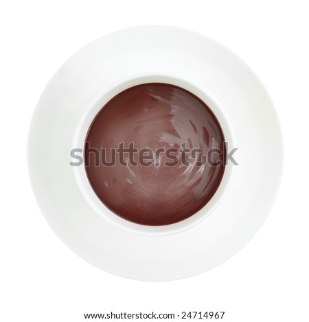 A cup of steaming luxurious hot chocolate on white background, top view - stock photo