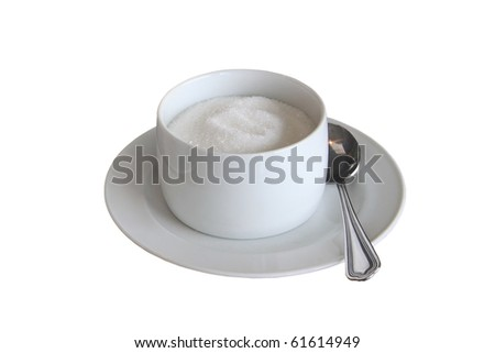 A cup of sugar isolated on white. - stock photo