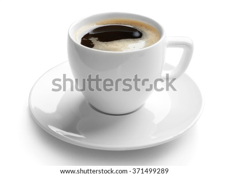 A cup of tasty coffee, isolated on white - stock photo