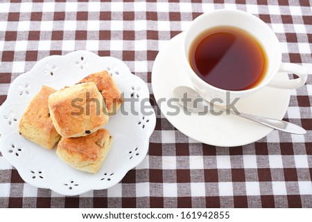 A cup of tea with scones