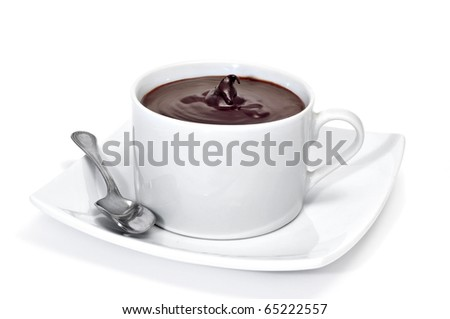 a cup with hot chocolate on a white background - stock photo