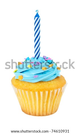 A cupcake with a birthday candle isolated on a white background